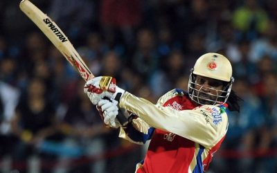 Punishing ... Chris Gayle clubbed the Pune Warriors bowlers. Source: Indranil Mukherjee / AFP