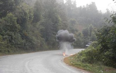 Bomb blast at Prithvi Highway today morning. A picture by Thaneswar Guragai./Facebook